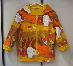 Kierrätyskankainen takki, Elefantit 98/104cm