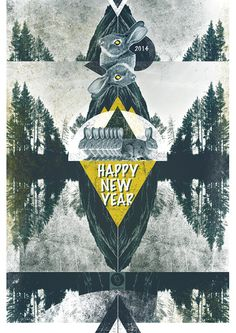 cards of New Year by Emiliya Lokta, via Behance