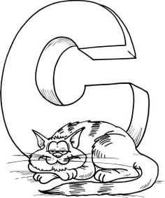coloring sheet of letter a with a cat