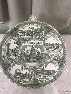 Wisconsin The Badger State State Souvenir Plate Green Transferware Country Home LivingFarmhouse & Souvenir collectible state plates Connecticut the nutmeg state green ...
