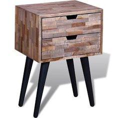 Szafka nocna z przetworzonego drewna tekowego z 2 szufladami