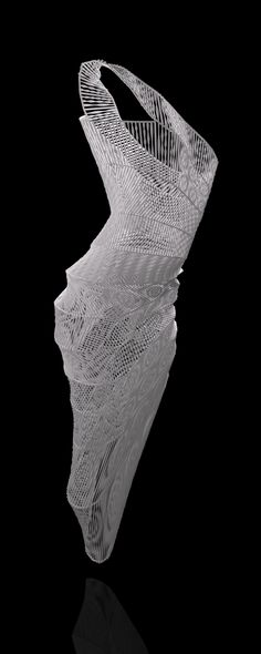 3d printed long dress by studioluminaire.com. Some kind of a study-progress.The form was extracted of a script. Main components are sine() and cosine() functions, which gives the form a fluidity. Changing some of the parameters mean the shape to morph. The model is watertight, it's ready for flexible 3D printing.