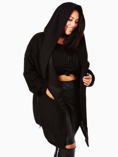 Black Hooded Plus Size Jacket made with textured fabric. <ul> <li>Made in USA.</li> </ul>