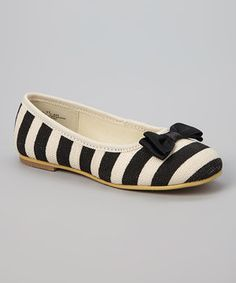 This Natural & Black Stripe Flat by L'Amour Shoes is perfect! #zulilyfinds