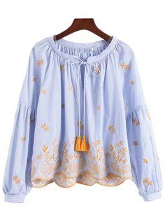 'Lovetta' Embroidered Tassel Scallop Hem Top