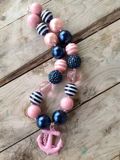 Navy Blue and Pink Girls Nautical Anchor Bubblegum Necklace Girls Chunky Necklace Bubble Gum Necklace Toddler Necklace Photography Prop on Etsy, $14.50