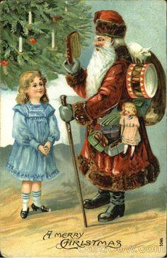 Santa with Girl A Merry Christmas