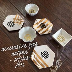 Libby & Dot Collections: Boutique Clothing and Monograms - Monogram Jewelry Dishes in gold and black, so classy!  Monthly Monogram Boxes are great!