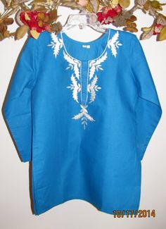 Turquoise Designer Cotton Tunic a soft spring summer tunic for women who love comfort and style. Day/evening tunic for just #34.99 available in all sizes till 4X.