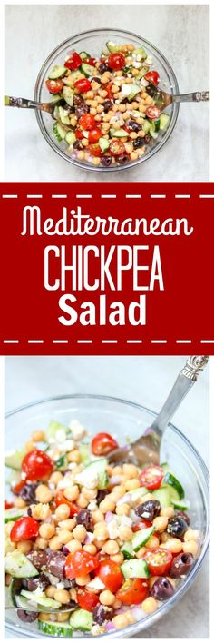 Mediterranean Chickpea Salad: A hearty meatless salad that is filled with classic Mediterranean flavors and flair. This dish is perfect to stand alone as an entree, served as a side dish, or even used as a party dip.Gluten-Free. Egg-Free. Meatless. Vegetarian. Simple. No Cook.