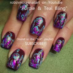 Nail-art by Robin Moses PURPLE FOIL  http://www.youtube.com/watch?v=n1QRJAlnM9w