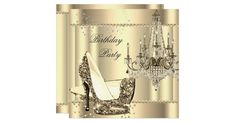 Any Age. Chandelier Glitter Sepia Gold Cream Chandelier Glamour High Heel Shoes stiletto, Elegant White Birthday Party. Ornate Elegant Classy All Occasion Party birthday invites Template, Customise with your own details and age. Template for Sweet 16, 16th, Quinceanera 15th, 18th, 20th, 21st, 30th, 40th, 50th, 60th, 70th, 80th, 90, 100th, Fabulous product for Women, Girls, Zizzago created this design PLEASE NOTE all flat images! They Do NOT have real Glitter, Diamonds Jewels or real Bows!!