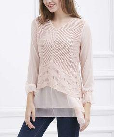 Simply Couture Pink Stripe Crochet-Bodice V-Neck Tunic | zulily