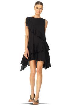 Leon Max Silk Blend Flounce Dress