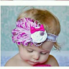 Infant or Toddler Flapper Feather Style Headband Adorable pink and white flapper style headband with big white flower and little pink bow. Too cute for words. Thank you for looking and happy shopping! Thanks Bunches!  Kristin Accessories Hair Accessories