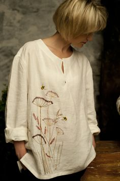 linen shirt with hand embroidery