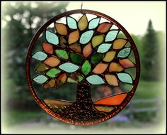 Stained Glass Tree Spring-Summer via Etsy