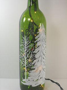 Lighted Wine Bottle White Forest Hand Painted by PaintingByElaine