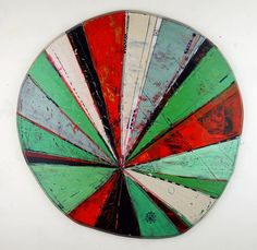 Layered Disc #9, 23 inch, acrylic, ink, carving on shaped wood, (c) 2015 Barbara Gilhooly