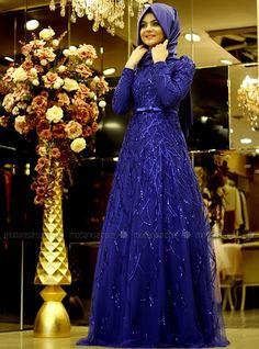 Rain Evening Dress - Royal Blue - Pınar Şems