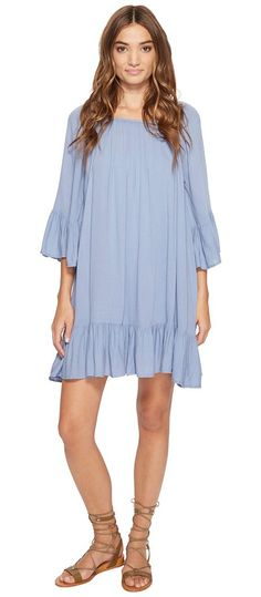 Jack by BB Dakota Cordy Rayon Crepe Flowy Dress (Stonewash Blue) Women's Dress - Jack by BB Dakota, Cordy Rayon Crepe Flowy Dress, JH18879-450, Apparel Top Dress, Dress, Top, Apparel, Clothes Clothing, Gift, - Fashion Ideas To Inspire