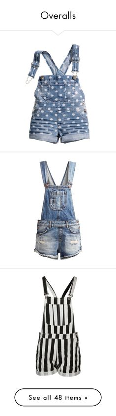 """""""Overalls"""" by maggie-johnston ❤ liked on Polyvore featuring bottoms, baby clothes, girls, shorts, short overalls, overalls, rompers, destroyed denim, dungaree and dungarees"""