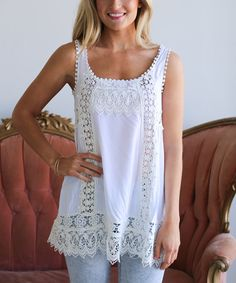 Look at this Cream Lace-Trim Tank on #zulily today!