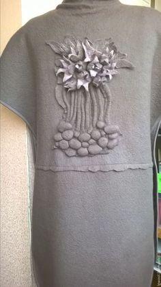 """Жилеты ручной работы. Ярмарка Мастеров - ручная работа. Купить Валяный жилет-пальто """"Сон-трава"""". Handmade. Темно-серый"""