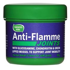 Anti-Flamme Joints Stiff joints slowing you down? Try Anti-Flamme JOINTS. It's a unique combination of Glucosamine, Chondroitin and Green Lipped Mussel, Herbalism, Massage, Wax, Kiss, Cream, Sports, Herbal Medicine, Creme Caramel