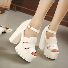 New Summer Wedges Platform Sandals Women Black and White Open Toe High Heels Female Shoes Chunky Heel Platform Sandals, Platform High Heels, Chunky Heels, Platform Sneakers, Pretty Shoes, Cute Shoes, New Shoes, Shoes Heels, Shoes 2016