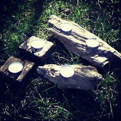 Driftwood votive holders
