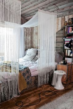 What I love about this particular picture, is the super easy and creative canopy! This would work with a lot of different style bedrooms