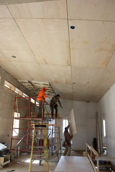 Plywood ceiling Basement construction 2 Ceiling Plywood ceiling Plywood walls Plywood interior P Plywood Ceiling, Plywood Walls, Ceiling Panels, Wood Ceilings, Ceiling Tiles, Ceiling Design, Plank Ceiling, Ceiling Detail, Timber Ceiling