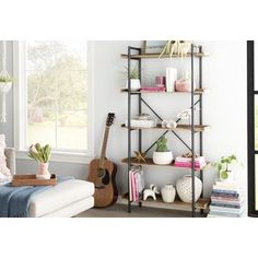 Hedon Bar Cabinet with Wine Storage Faux Wood Wall, Wood Wall Shelf, Wood Shelves, Floating Shelves, Etagere Bookcase, Ladder Bookcase, Bookshelf Styling, Joss And Main, Rustic Living Room Furniture