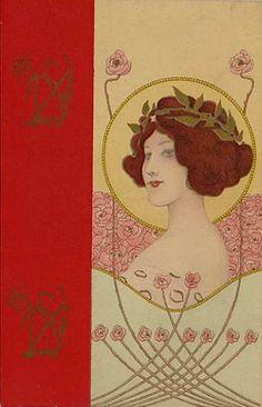 Art Nouveau card by Gatochy, via Flickr
