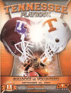 The Tennessee Football Programs: 2004 Football Program - UT vs Louisiana Tech Ut Football, Tennessee Football, University Of Tennessee, Football Program, College Football, Football Helmets, Neyland Stadium, Louisiana Tech, Go Vols