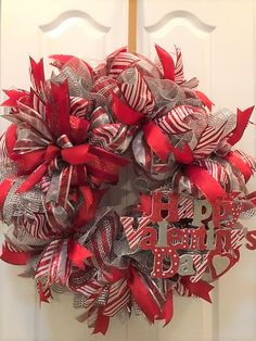 """Valentines """"Happy Valentines Day""""  Theme Deco Mesh Wreath -   Red/White/Silver with Large Terri Bow - Jumbo Door Wreath 28"""" x 28"""" x 8"""" by JewelsWreathDesigns on Etsy"""
