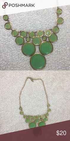 Mint statement necklace Mint green necklace with gold chain, lobster clasp Jewelry Necklaces