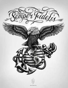Marine Eagle Globe and Anchor Digital Illustration on Behance Warrior Tattoos, Badass Tattoos, Body Art Tattoos, Sleeve Tattoos, Tattoo Drawings, Cool Tattoos, 3d Tattoos, Usmc Tattoos, Tatoos