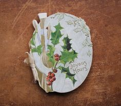 Victorian Christmas booklet / Die-cut German litho Christmas card / Artist palette / tippleandsnack