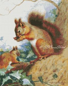 Counted Cross Stitch Pattern Squirrels in a tree by SimpleSmart, $8.00