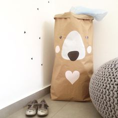 Polar bear paperbag storage for toys/Costumes by KidODesignStudio