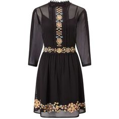 Miss Selfridge Embroidered Skater Dress featuring polyvore, women's fashion, clothing, dresses, black, embroidered dress, calf length dresses, midi dress, chiffon midi dress and chiffon dresses