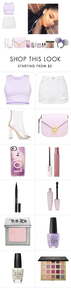 """""""-Glo Queen"""" by thegloup-reina on Polyvore featuring Topshop, MCM, Casetify, Maybelline, Stila, Forever 21, Urban Decay, OPI and tarte"""