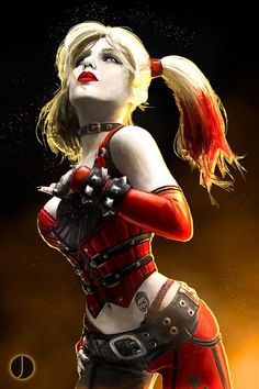 Harley Quinn by John Aslarona The Joker as her tattoo. Dc Comics, Comics Girls, Dc Batgirl, Art Kawaii, Joker Und Harley Quinn, Fantasy Anime, Es Der Clown, Harely Quinn, Univers Dc