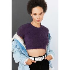 Kimchi Blue Fuzzy Cropped Tee ($44) ❤ liked on Polyvore featuring tops, t-shirts, purple t shirt, slim tees, purple crop top, cut-out crop tops and slim fit t shirts