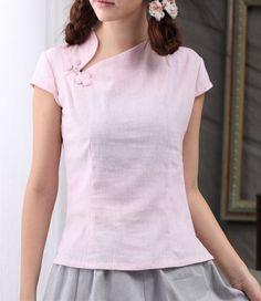 Butterfly Button Short Sleeve Linen Tank-zeniche.com SKU bb0332