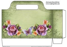 Gorgeous green English roses tote bag on Craftsuprint designed by Sharon Poore - Gorgeous green English roses tote bag,you will need to print 2 sheets to make tote bag - Now available for download!