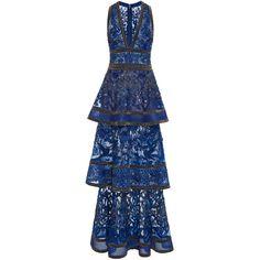 Elie Saab     Sleeveless Beaded Embroidered Dress (200.774.990 IDR) ❤ liked on Polyvore featuring dresses, blue v neck dress, plunging v neck dress, v neck cocktail dress, beaded dress and embroidery dresses