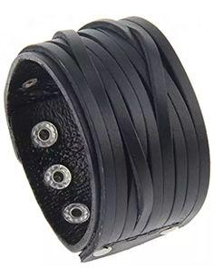 Adjustable Punk Genuine Leather Wide Belt Wristband Bangle Cuff Bracelet for Men by Jenia